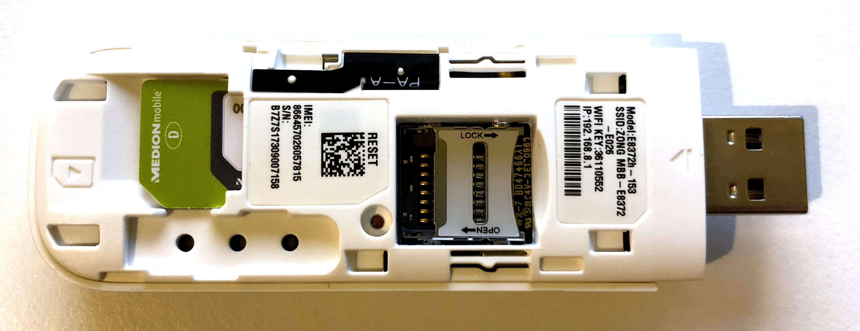 Mobiler Hotspot Huawei E8372 USB-Stick mit W-Lan und LTE