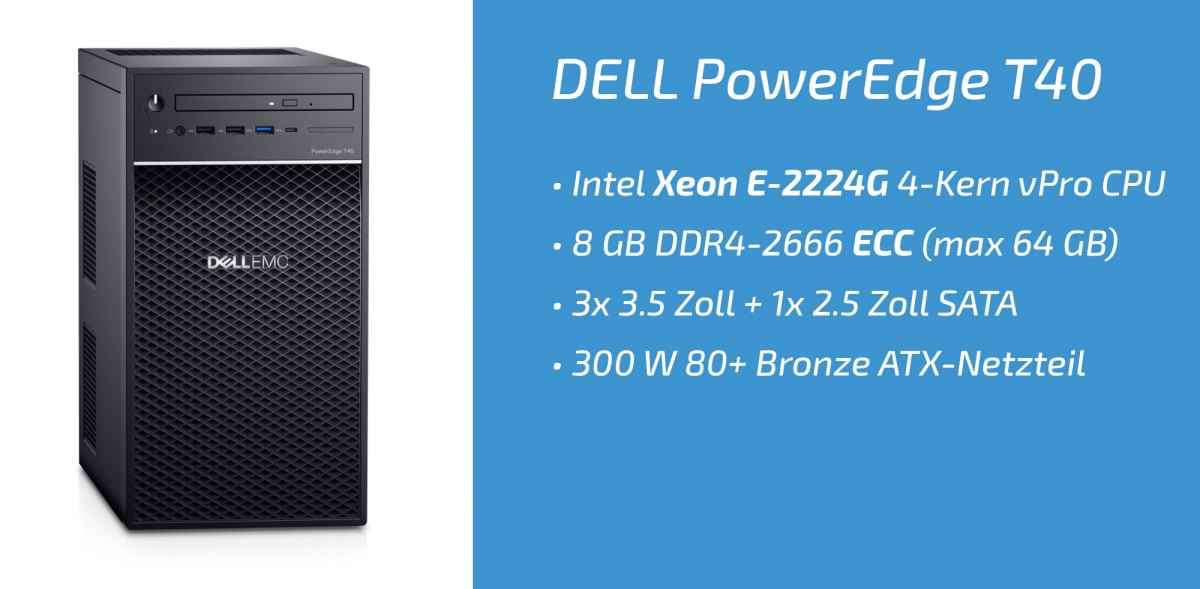 Dell PowerEdge T40 (9YP37) mit Intel Xeon E-2224G im Test